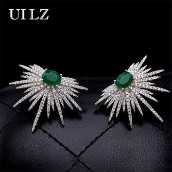 UILZ Punk Style Spike Shape Earring White And Green Stone Pave Sparkly Star Galaxy Stud Earrings Jewelry For Women UE628