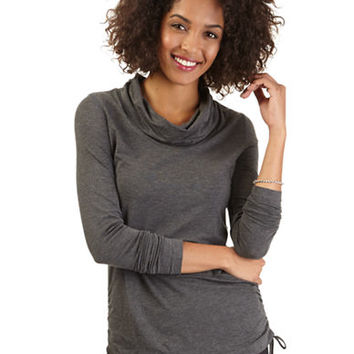 Nautica Cowl Neck Ruched Sweater