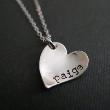 Personalized Necklace, Personalized Heart Pendant, Childs Name, Heart Pendant, Junior Bridesmaid, Flower Girl Jewelry, Heart Charm