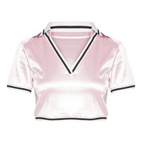 Pastel Pink Satin Stripe Trim Crop Top