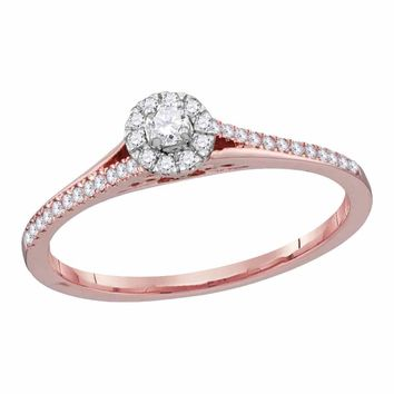 10kt Rose Gold Womens Round Diamond Solitaire Bridal Wedding Engagement Ring 1/5 Cttw