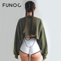 FUNOC 2017 Spring Women Sexy Cropped Hoodies Batwing Long sleeve cut out short Loose Sweatshirt felpa crop top sudaderas mujer