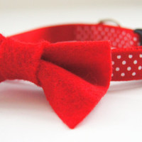 Bright Red Felt Dog Bow Tie