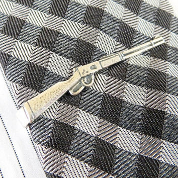 Rifle Tie Bar- Rifle Tie Clip-  Sterling Silver Ox Finish