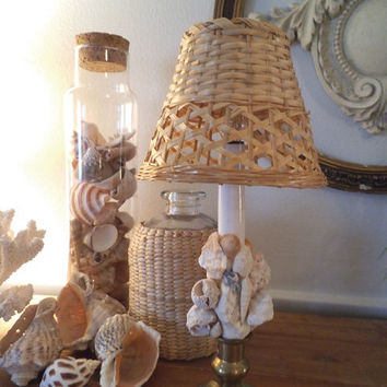 Vintage Seashell encrusted electric Candle Light lamp ~ Wicker shade ~ Beach House Cottage