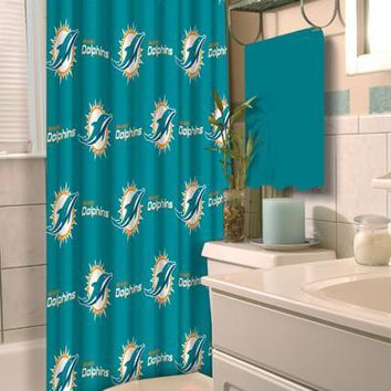 """Miami Dolphins NFL 72""""x 72"""" Shower Curtain"""
