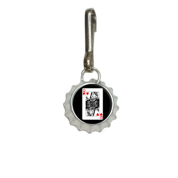 Playing Cards Queen of Hearts Bottlecap Charm Zipper Pull