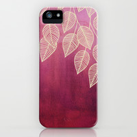 Magenta Garden - watercolor & ink leaves iPhone & iPod Case by Micklyn