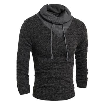 Sweater Pullover Turtleneck Sweater Stylish Knitted Long Sleeve Casual Slim Sweaters High Collar Men'S Sweater