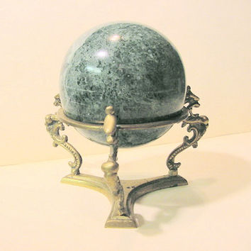 CLEARANCE Green Marble Ball with brass dragon motif stand Vintage - large size // strega Wicca goth gothic curiosity BoHo gypsy Hipster