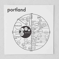Archie's Press Portland Map- Black & White One