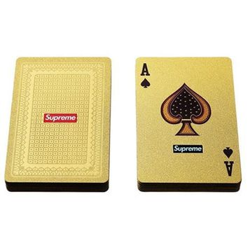 Supreme Toy FW 13s gold poker Fashion logo luxury gold color playing cards