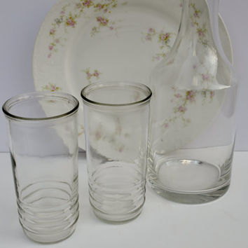 Vintage Glass Decanter with Vintage Jelly Jars by JudysJunktion
