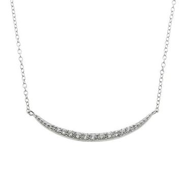 Bronzo Lusso Sterling Silver Pave Crescent Necklace