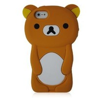 KIQ Teddy Bear 3D Design Silicone Case Cover Skin for iPhone 5 - BROWN with Screen Protector