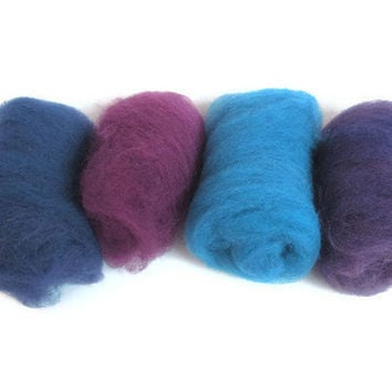 Hand Dyed Felting Wool Purple Sampler Pack by flickertailfibers