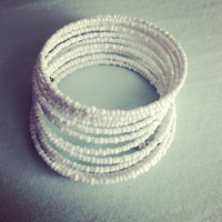 White beaded wrap bracelet