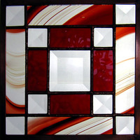 """Jo's Bevel 6"""" Handmade Stained Glass Quilt Square in Red/Burgundy"""