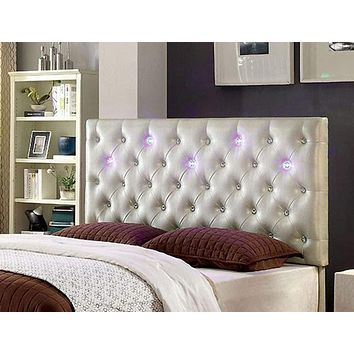 Leatherette Upholstered Wooden King Size Headboard With LED, White