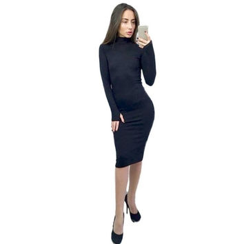 Elegant Women Bodycon Sheath Dresses   Ladies Turtleneck Black Red Green Long Sleeve Midi Pencil Dress Women #1124 SM6
