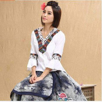 Summer Woman Shirt Vintage 70S Mexican Ethnic Flower Embroidery Shirt Plus Size Women Clothing,National Wind Tops