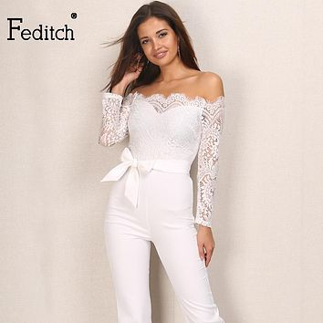 Feditch 2017 Autumn New Lace Jumpsuit Women Sexy Ladies Elegant Neck Off Shoulder Overalls Long Sleeve Femme Romper Jumpsuit