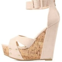 Bamboo Crisscross Platform Wedge Sandals by Charlotte Russe - Nude