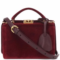 Grace Mini Box velvet shoulder bag