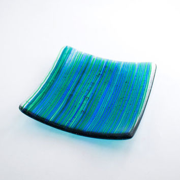 Blue and Green Fused Glass Dish, Pillar Candle Holder, Square Shape Decorative Plate, Modern Home Decor, Stripe Design, Unique Handmade Gift