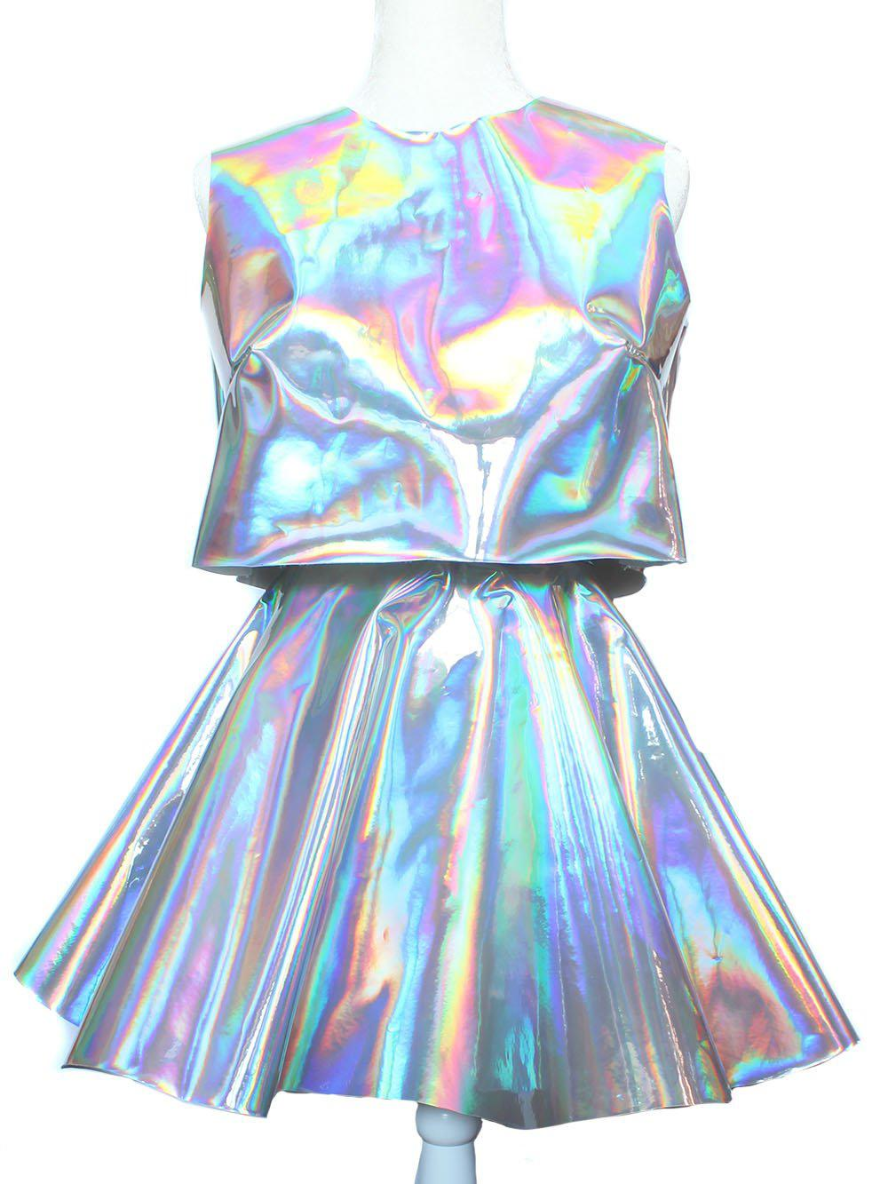 b5f0e965604151 Holographic Crop Top and Circle Skirt Set from Chain Candy