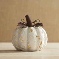 Small Ceramic Ivory Pumpkin Tealight Candle Holder