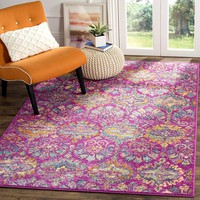 0122 Fuchsia Pink Bohemian Damask Distressed Area Rugs