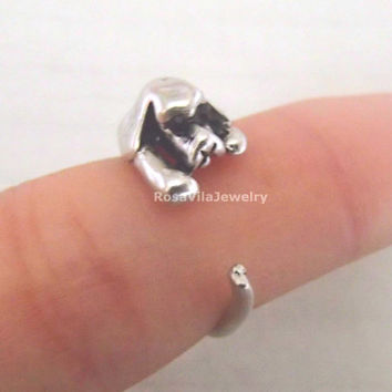 Dog ring - Gold and Silver; adjustable size; minimalist knuckle rings, midi rings, mini rings, animal ring, cute ring, vintage ring