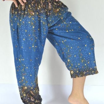 Long Yoga Pants Dark green blue color/Harem Pants/Boho/Elephant Print design/Drawstring elastic waist/Comfortable wear/Message wear/Thailand