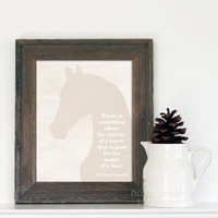Something About the Inside of a Horse - Western Cowboy Horse Quote Print - Pale Beige Gray