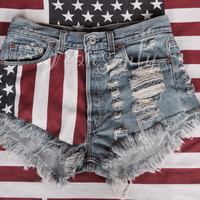 High waisted American flag denim shorts US stars and stripes Red Blue White Levis distressed destroyed by Jeansonly