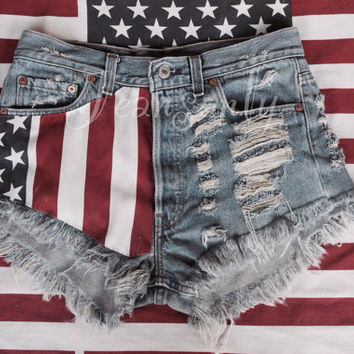 119d973fc2 High waisted American flag denim shorts US stars and stripes Red Blue White  Levis distressed destroyed