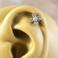 Sparkly Flower Cartliage Earring Tragus Conch Helix Piercing