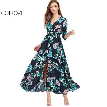 Beauty Ticks Colrovie Botanical Holiday Maxi Dress Women Navy Smocked Waist Tassel Tie Elegant Summer Dresses 2017 Button Up Girls Long Dress
