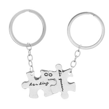 New Her King His Queen Keychain King and Queen Couple Key Chain Puzzle Couple Key Ring Lover Wedding Anniversary Gifts