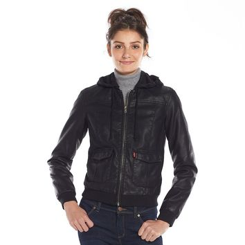 Levi s Faux-Leather Hooded Bomber Jacket from Kohl s caff95aa5
