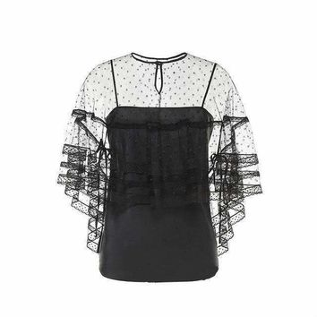 Womens Tops Two Pieces Blouse Dots Mesh Perspective Lace Half Sleeves female Shirts Night Club Top
