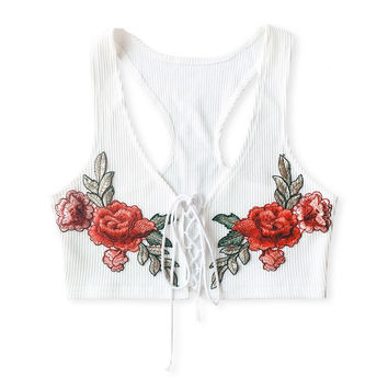 Kelis Lace Up Floral Embroidered Crop Top