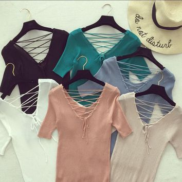 2016 summer new fashion solid color V-neck cross lace cultivating wild female short-sleeved sweater