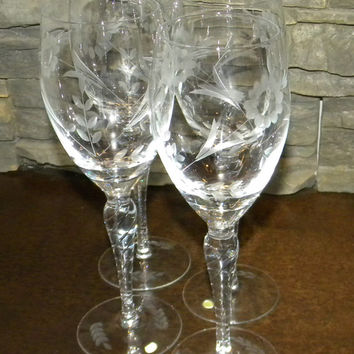 Wine Glasses, Water or Wine Goblets Buttercup, Etched Glass, Made in Hungary for Eaton's-Set of 4-New in Box