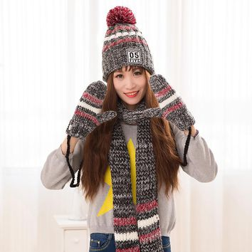 Stripes Winter Plus thick velvet Warm New Arrival High Quality Fashion Knitted Scarf Hat Glove Set for Women