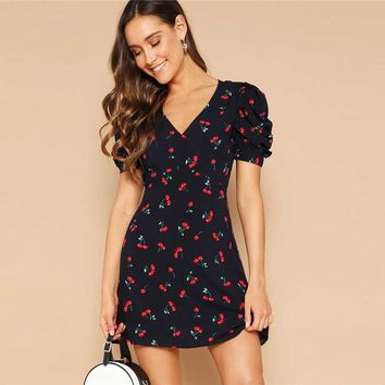 Navy Cherry Print Knot Open Back V Neck Sexy Dress Women Short Puff Sleeve Fit and Flare Bohemian Mini Dresses