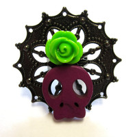 Sugar Skull Ring Purple Zombie Queen