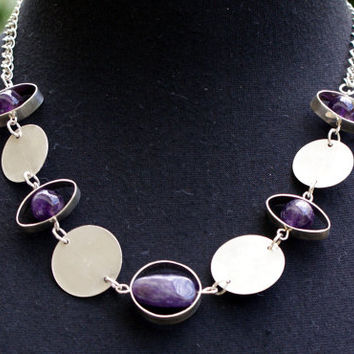 Handmade Silver 925, elegant short necklace with amethyst beads, sterling silver, silver circles, silver chains