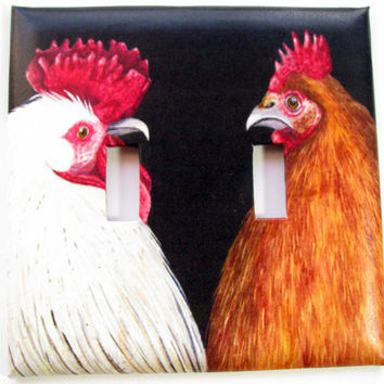 Double Light Switch Cover - Light Switch Plate Rooster & Hen Kitchen Decor